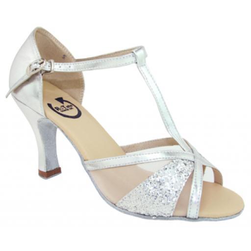 """LEANE - silver + silver glitter 3"""" heel"""